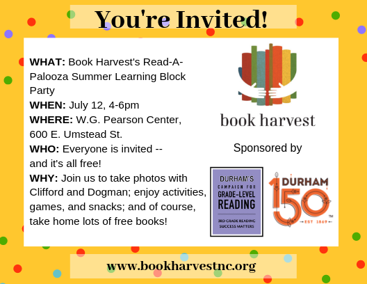 Book Harvest S Read A Palooza Summer Learning Block Party