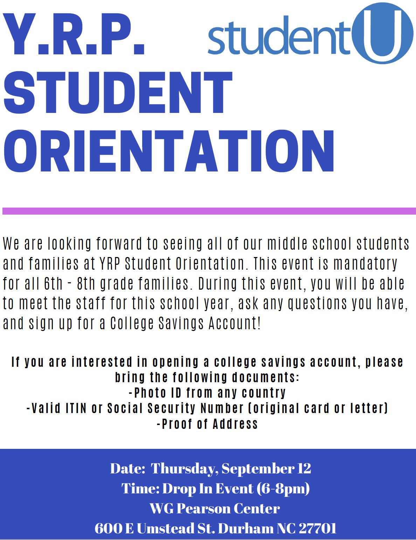 YRP Student Orientation