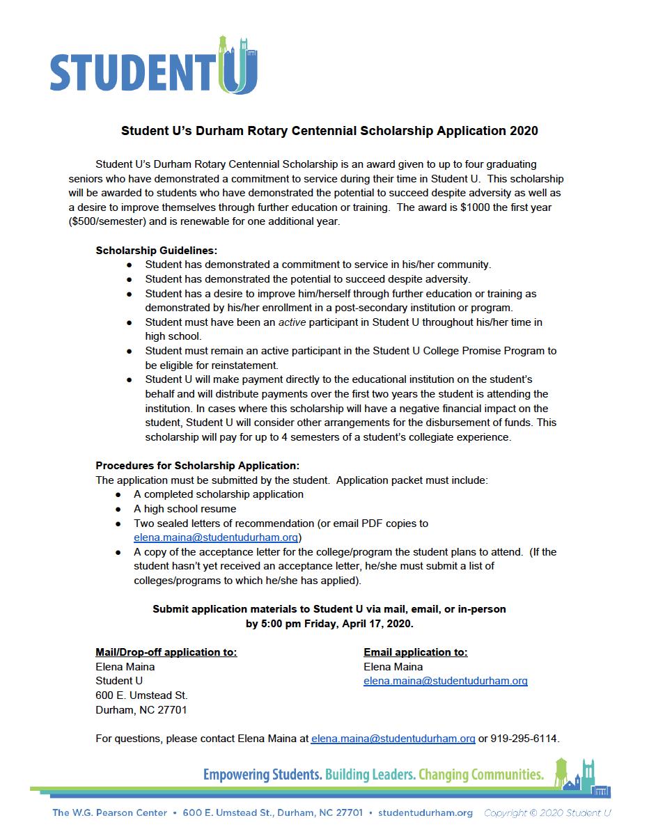 Durham Rotary Centennial Scholarship