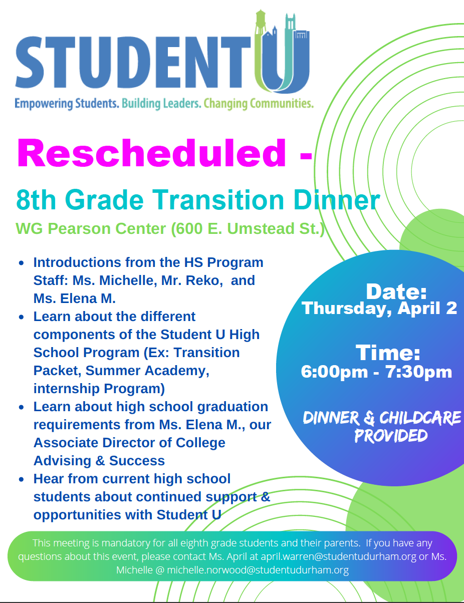 8th Grade Transition Dinner