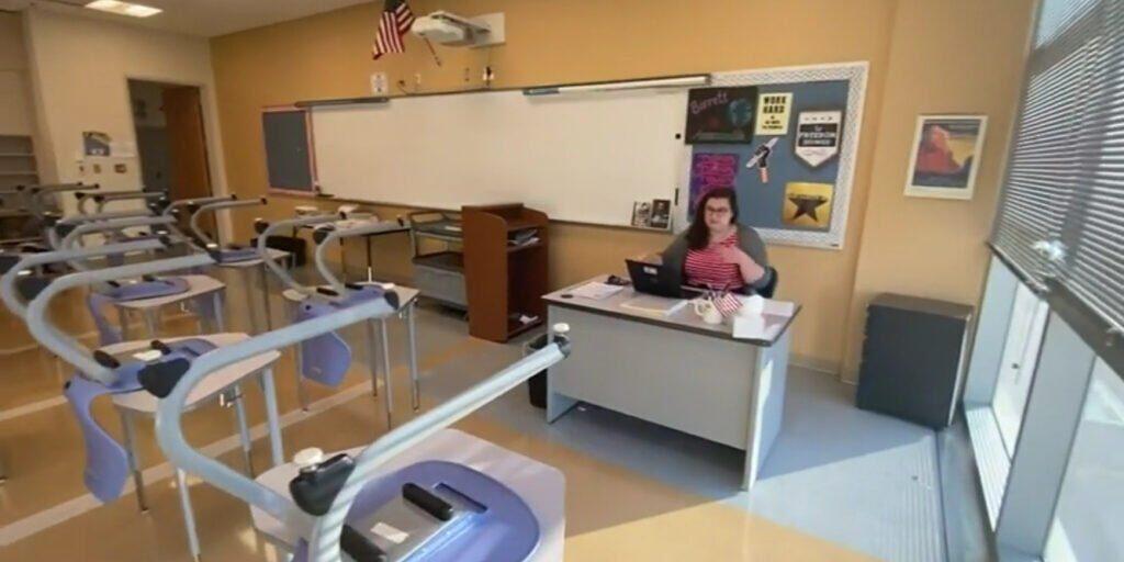 Tracey Barrett in her classroom